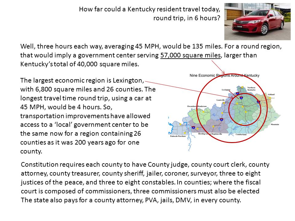 How far could a Kentucky resident travel today, round trip, in 6 hours