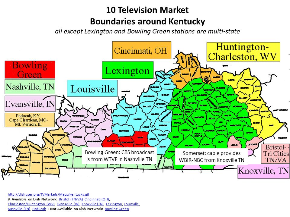 10 Television Market Boundaries around Kentucky