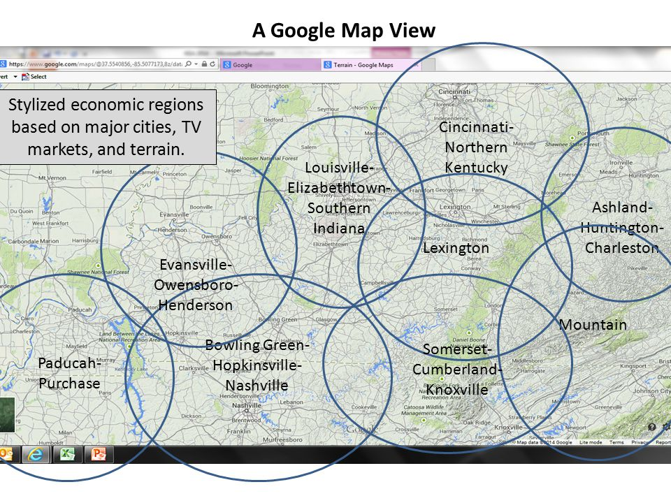 A Google Map View Cincinnati- Northern Kentucky. Stylized economic regions based on major cities, TV markets, and terrain.