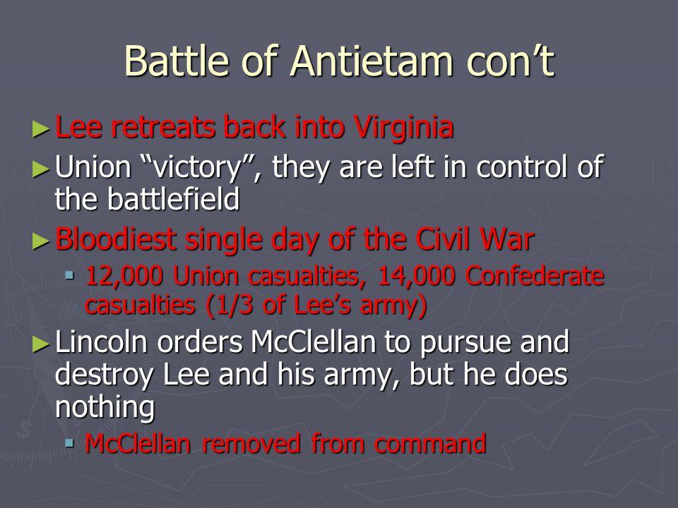 Battle of Antietam con't