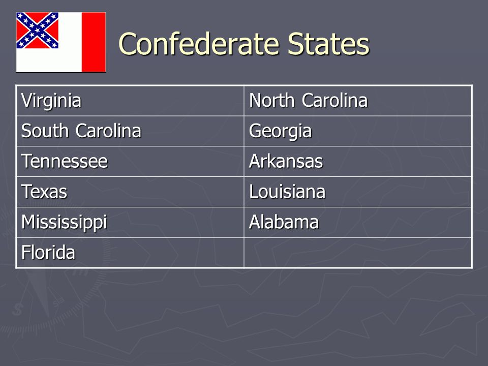 Confederate States Virginia North Carolina South Carolina Georgia