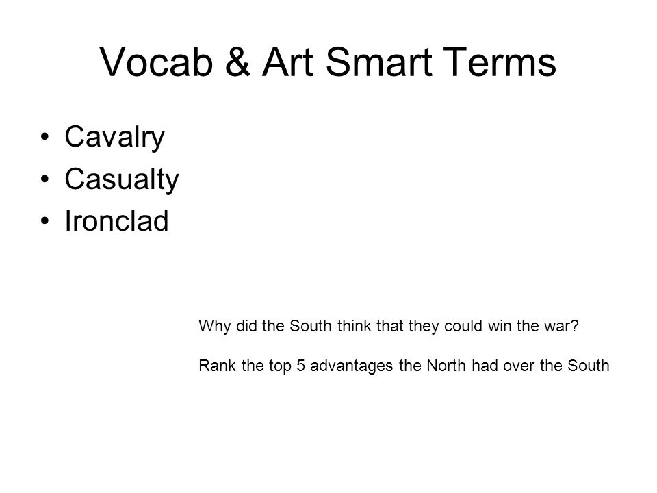 Vocab & Art Smart Terms Cavalry Casualty Ironclad