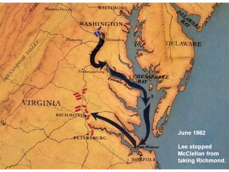 June 1862 Lee stopped McClellan from taking Richmond.