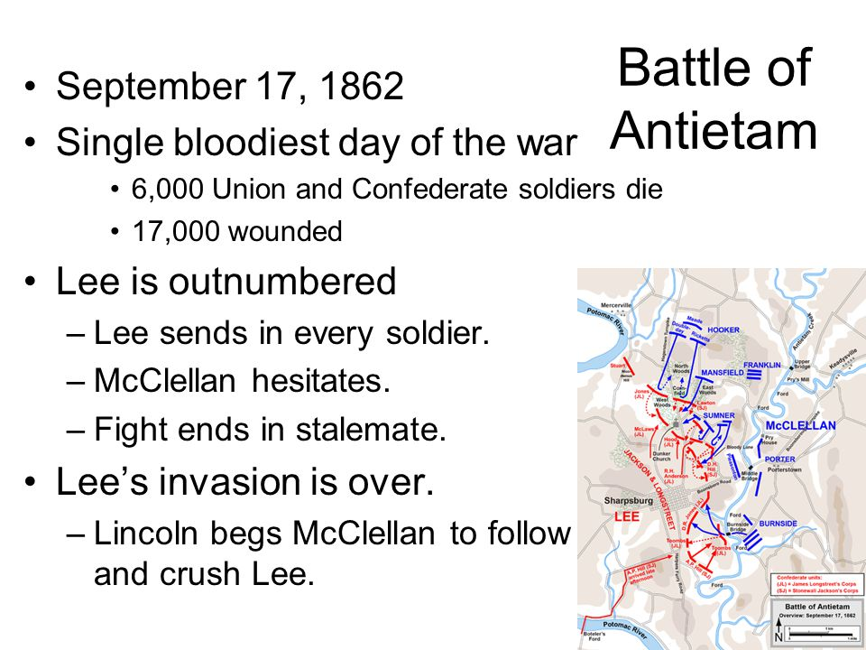Battle of Antietam September 17, 1862 Single bloodiest day of the war