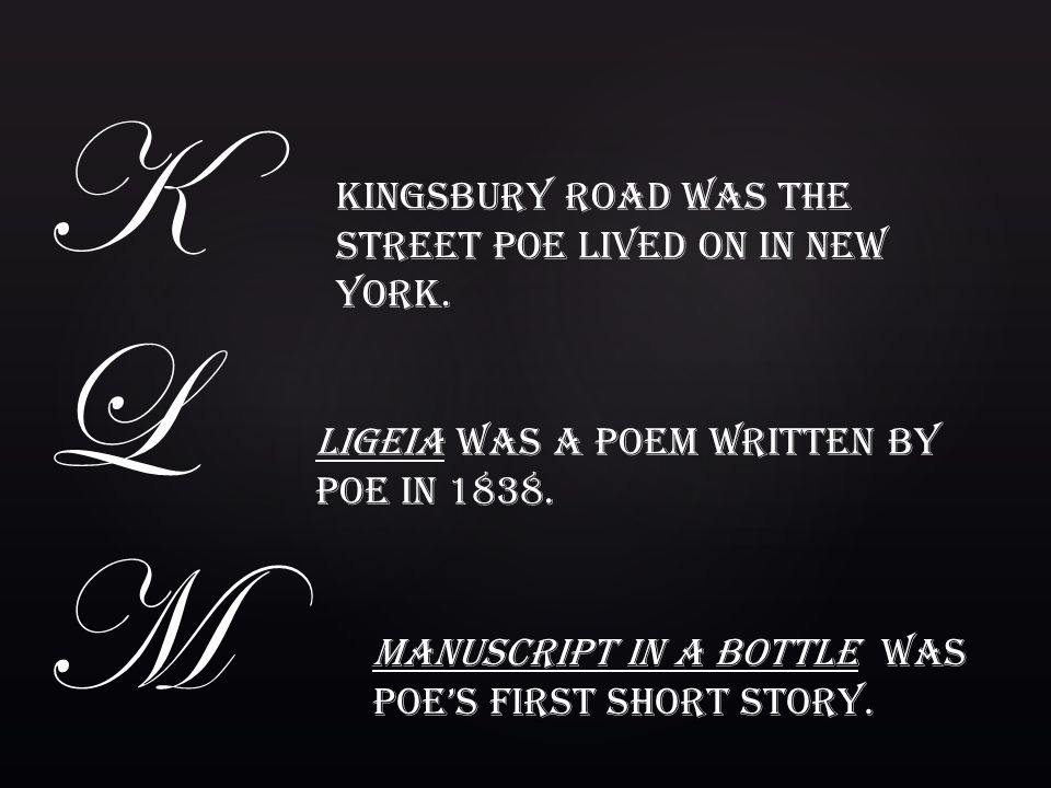KL M Kingsbury Road was the street Poe lived on in New York.