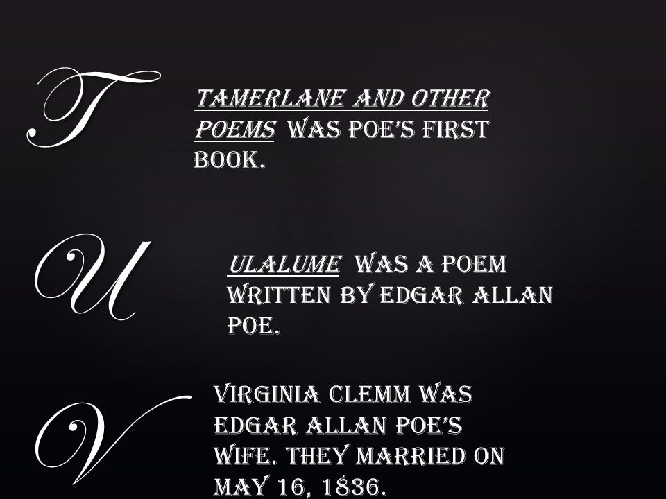 T U V Tamerlane and other Poems was Poe's first book.