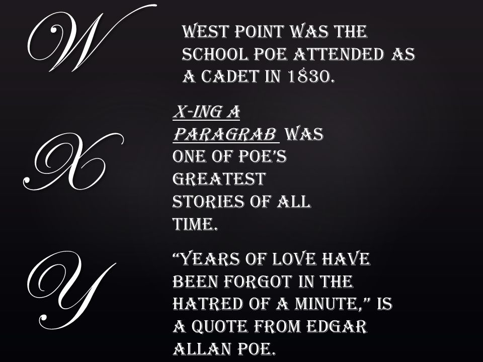 W X Y West Point was the school poe attended as a cadet in 1830.