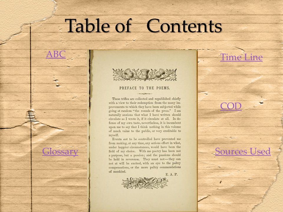 Table of Contents ABC Time Line COD Glossary Sources Used