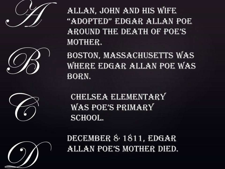 A B. C. D. Allan, John and his wife adopted Edgar Allan Poe around the death of Poe's mother.
