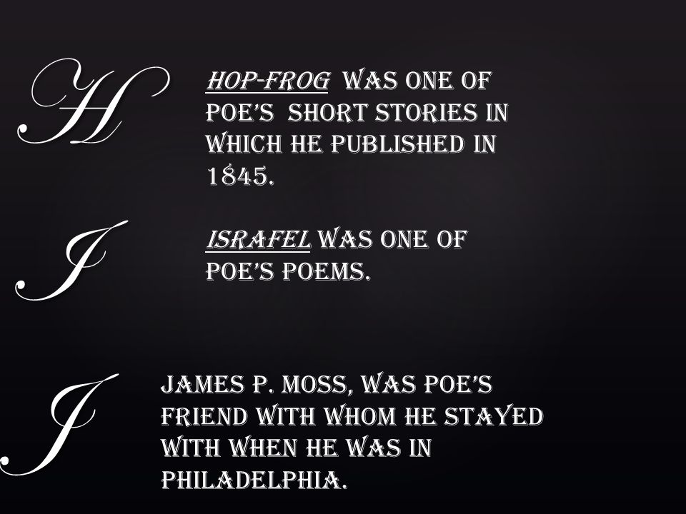 H I J Hop-Frog was one of Poe's short stories in which he published in 1845. Israfel was one of Poe's poems.
