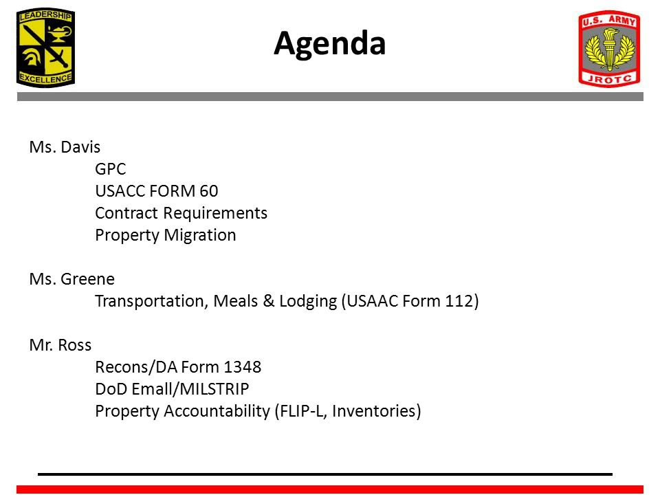 Agenda Ms. Davis GPC USACC FORM 60 Contract Requirements