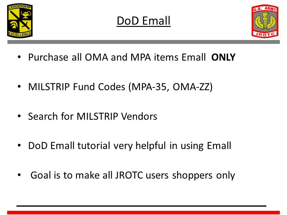 DoD Emall Purchase all OMA and MPA items Emall ONLY
