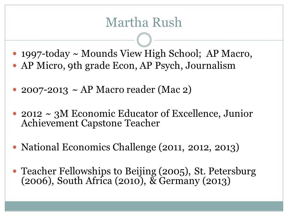 Martha Rush 1997-today ~ Mounds View High School; AP Macro,