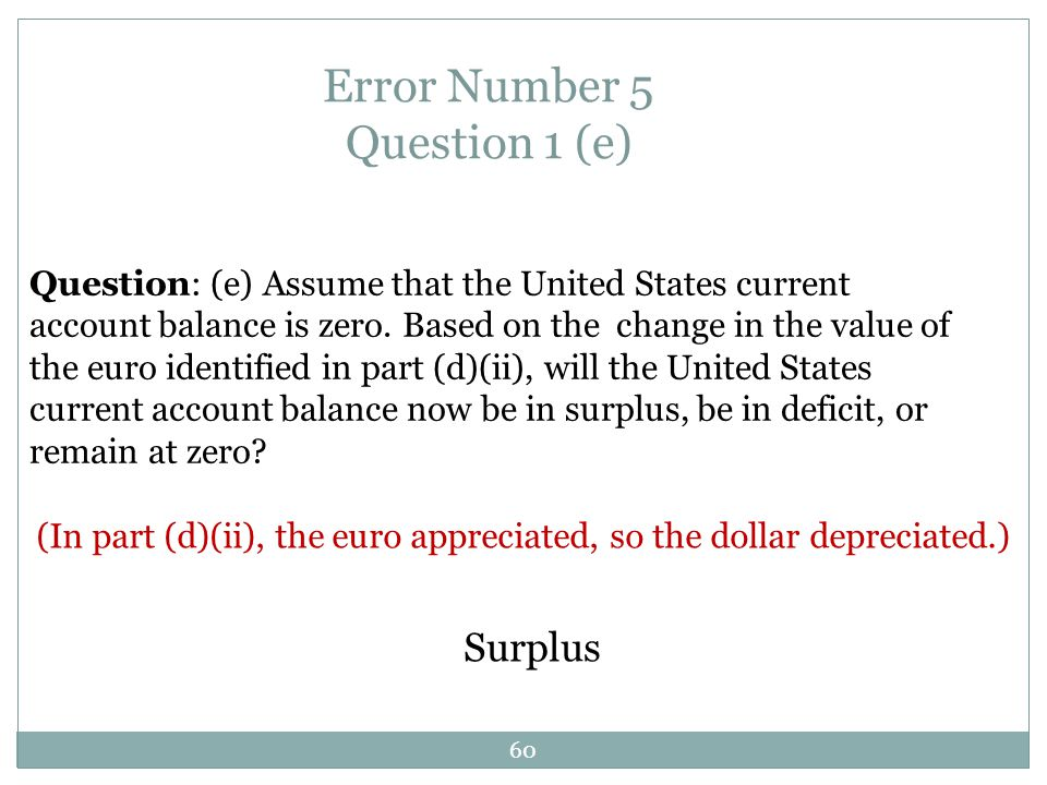 Error Number 5 Question 1 (e)