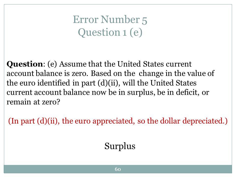 Error Number 5 Question 1 (e)
