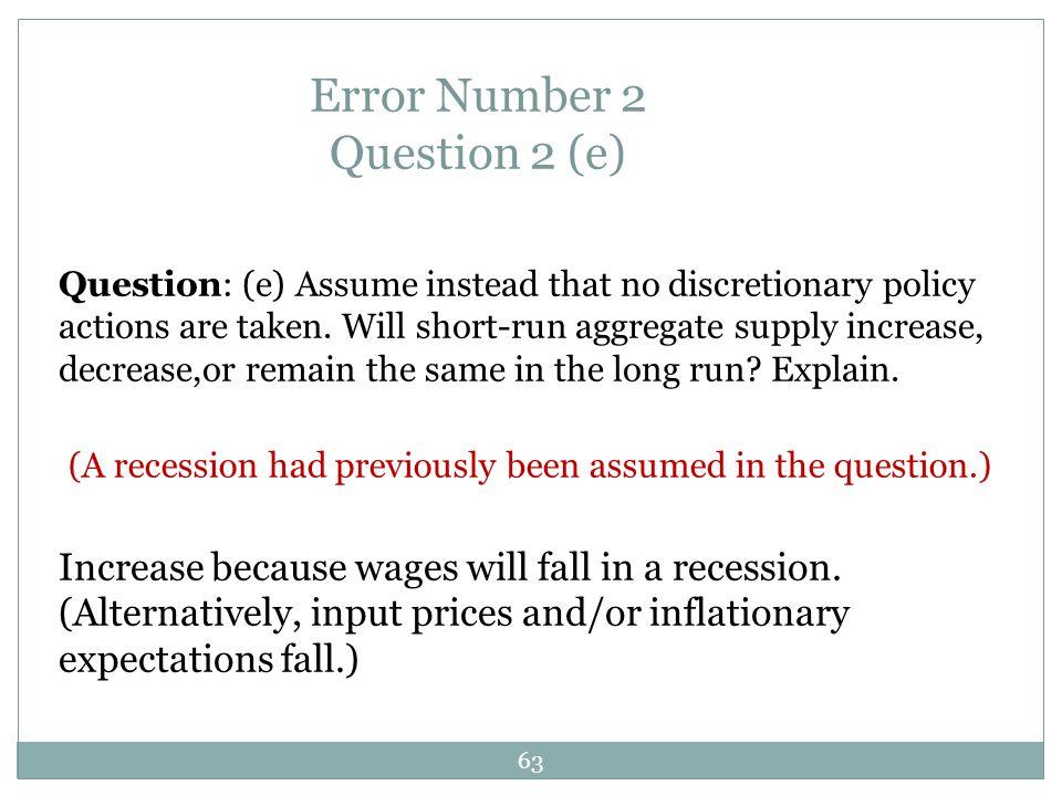 Error Number 2 Question 2 (e)