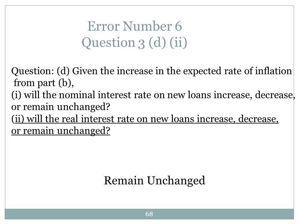 Error Number 6 Question 3 (d) (ii)