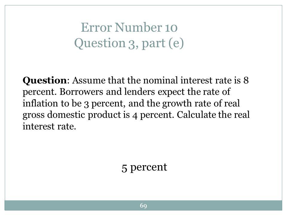 Error Number 10 Question 3, part (e)