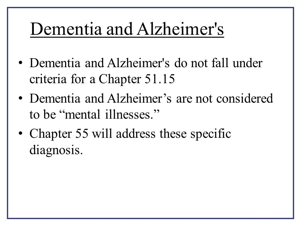 Dementia and Alzheimer s