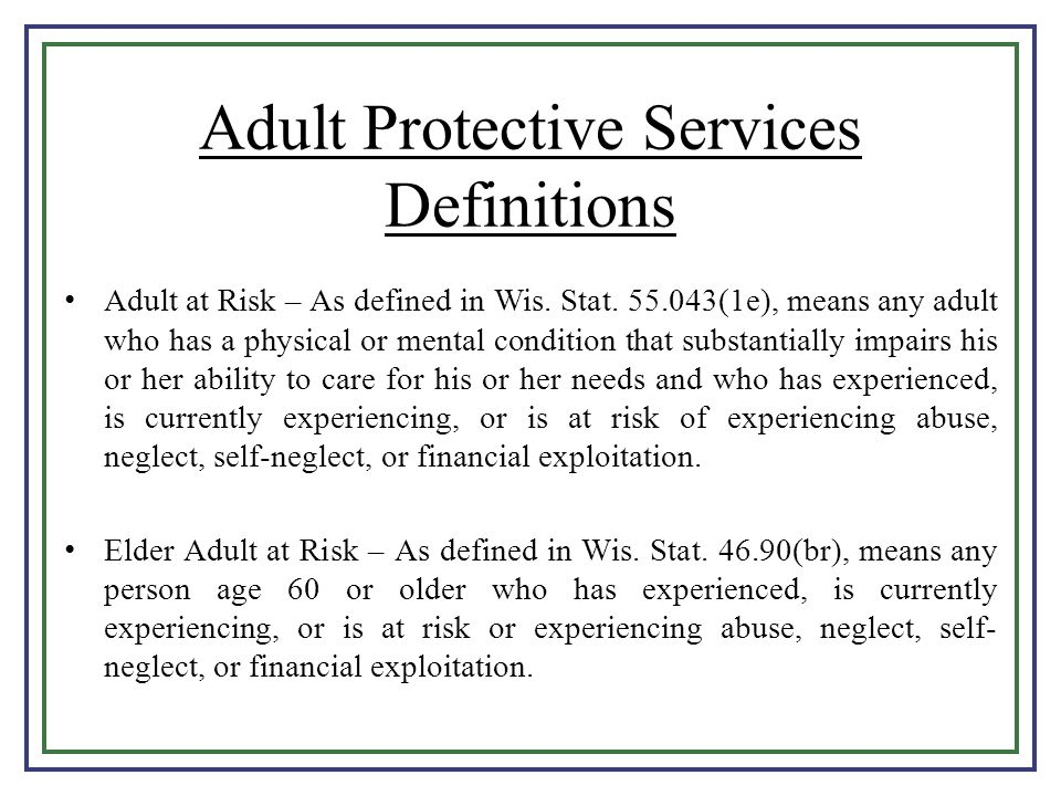 Adult Protective Services Definitions