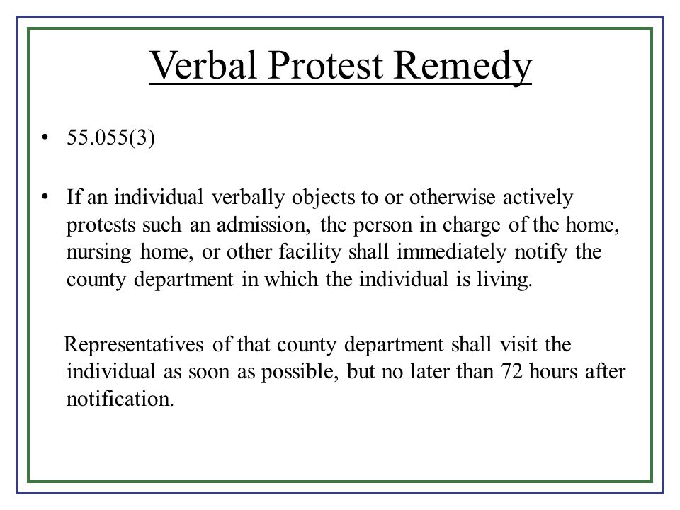Verbal Protest Remedy 55.055(3)