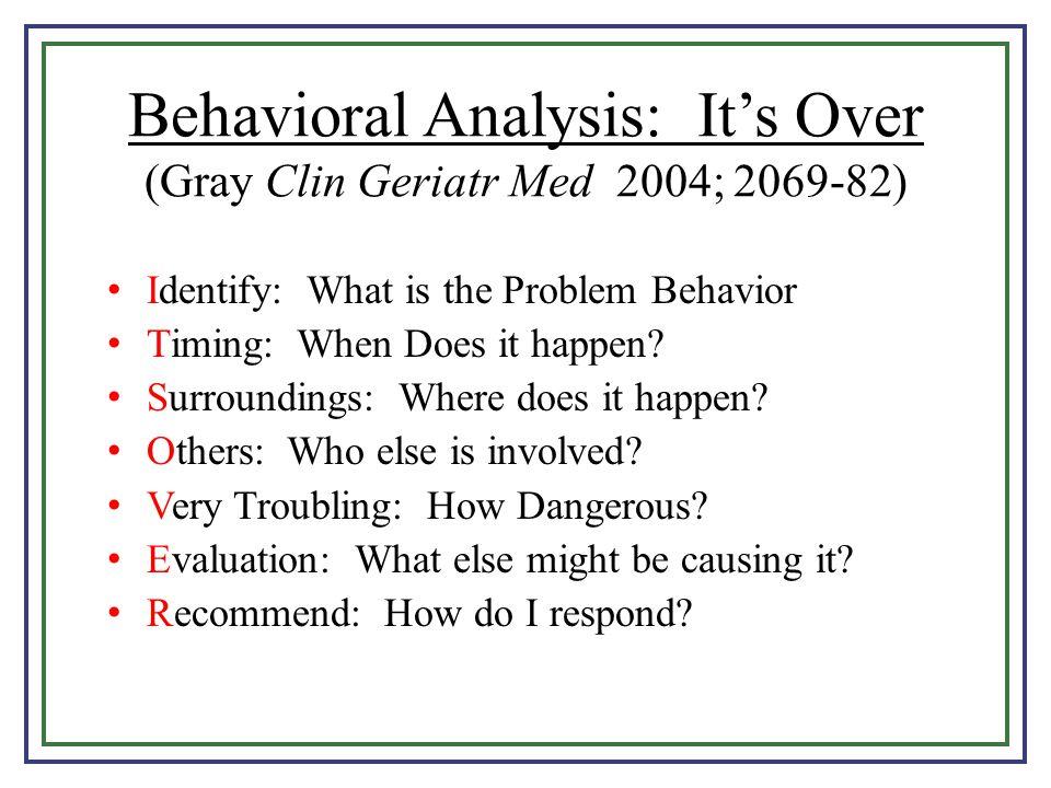 Behavioral Analysis: It's Over (Gray Clin Geriatr Med 2004; 2069-82)