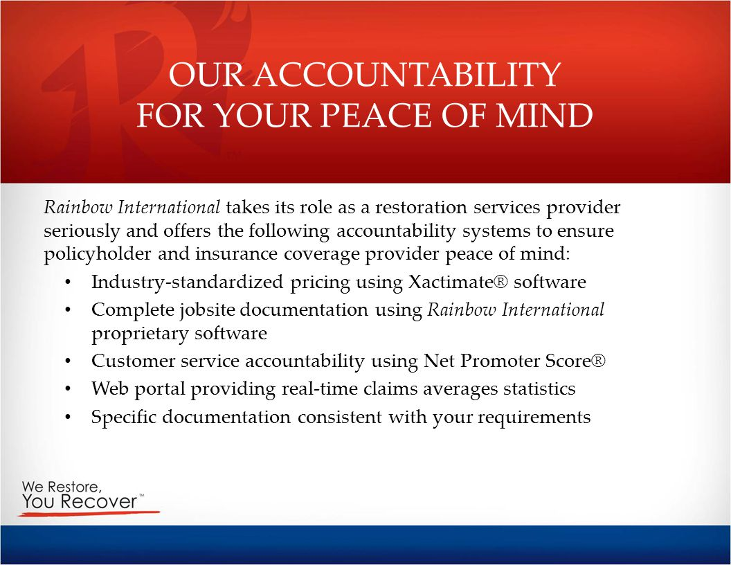 OUR ACCOUNTABILITY FOR YOUR PEACE OF MIND