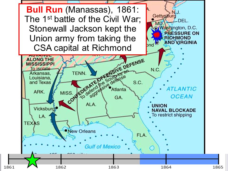 Bull Run (Manassas), 1861: The 1st battle of the Civil War; Stonewall Jackson kept the Union army from taking the CSA capital at Richmond
