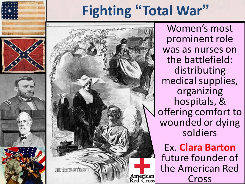 Ex. Clara Barton future founder of the American Red Cross
