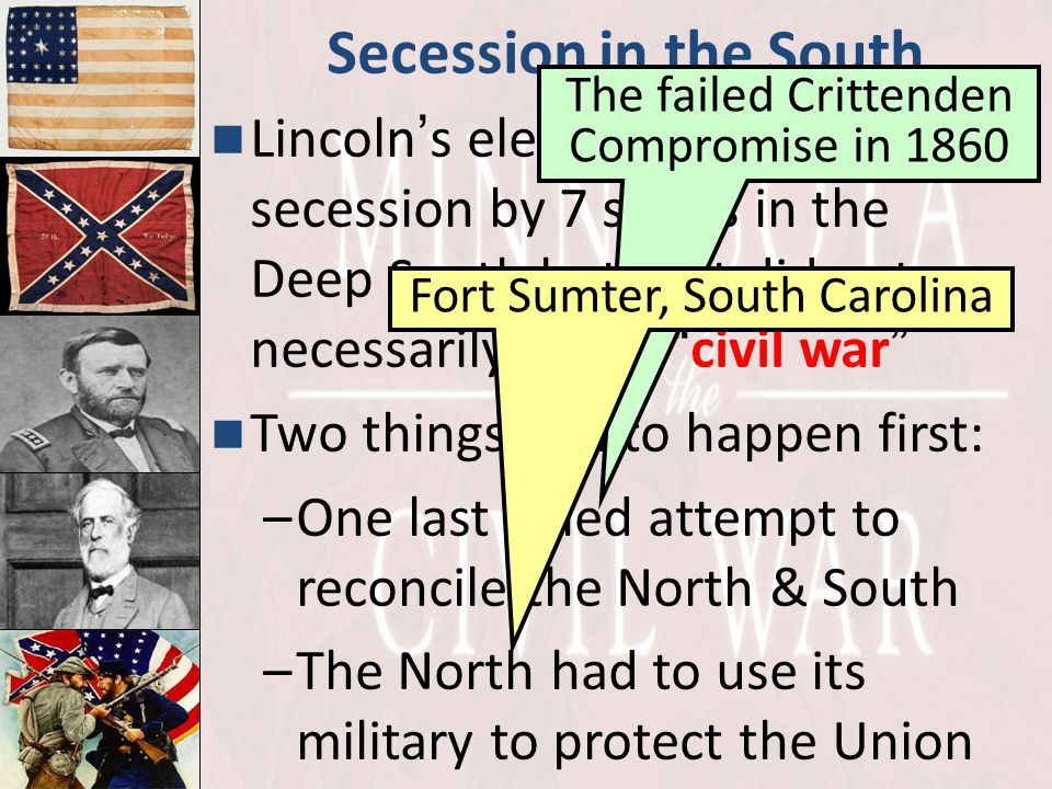 Secession in the South The failed Crittenden Compromise in 1860.