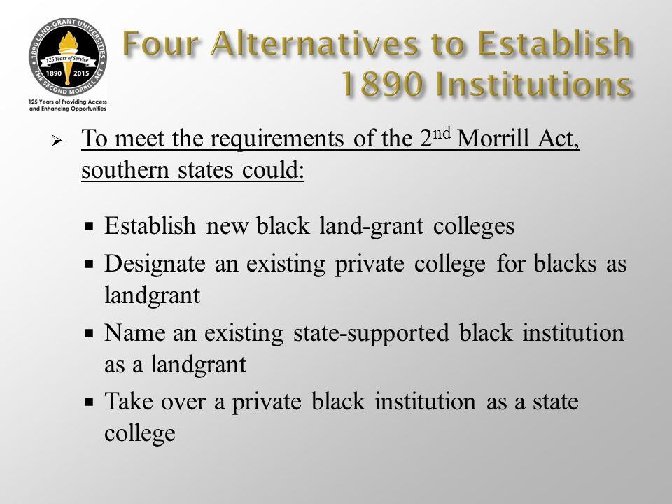 Four Alternatives to Establish 1890 Institutions