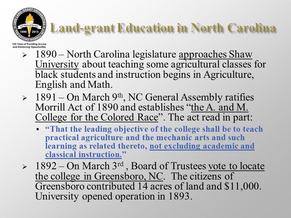 Land-grant Education in North Carolina
