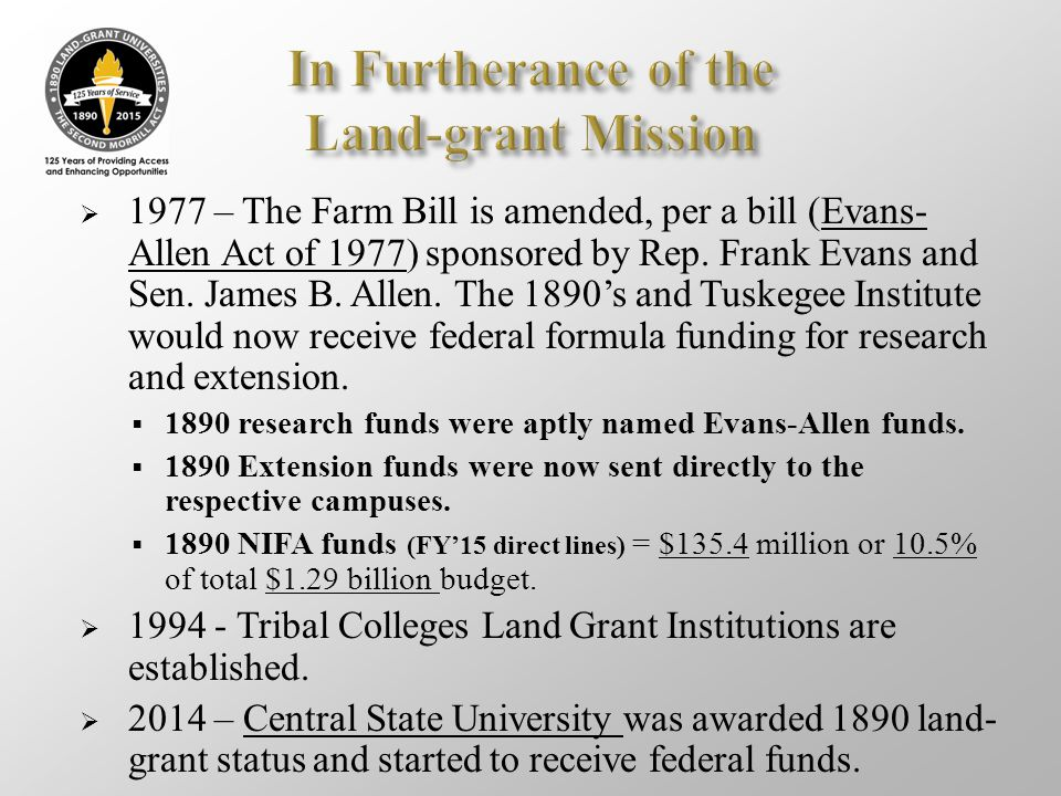 In Furtherance of the Land-grant Mission