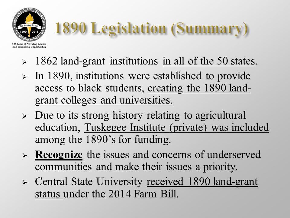 1890 Legislation (Summary)