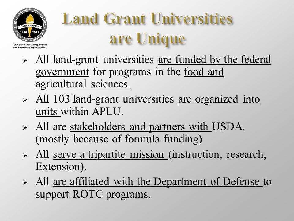 Land Grant Universities are Unique
