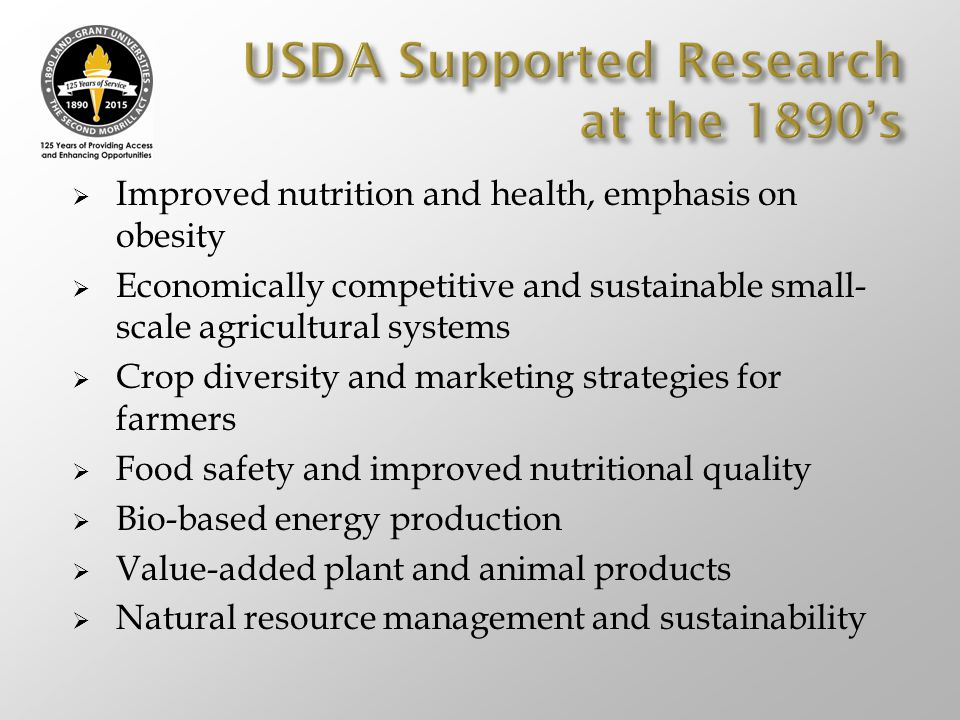 USDA Supported Research at the 1890's