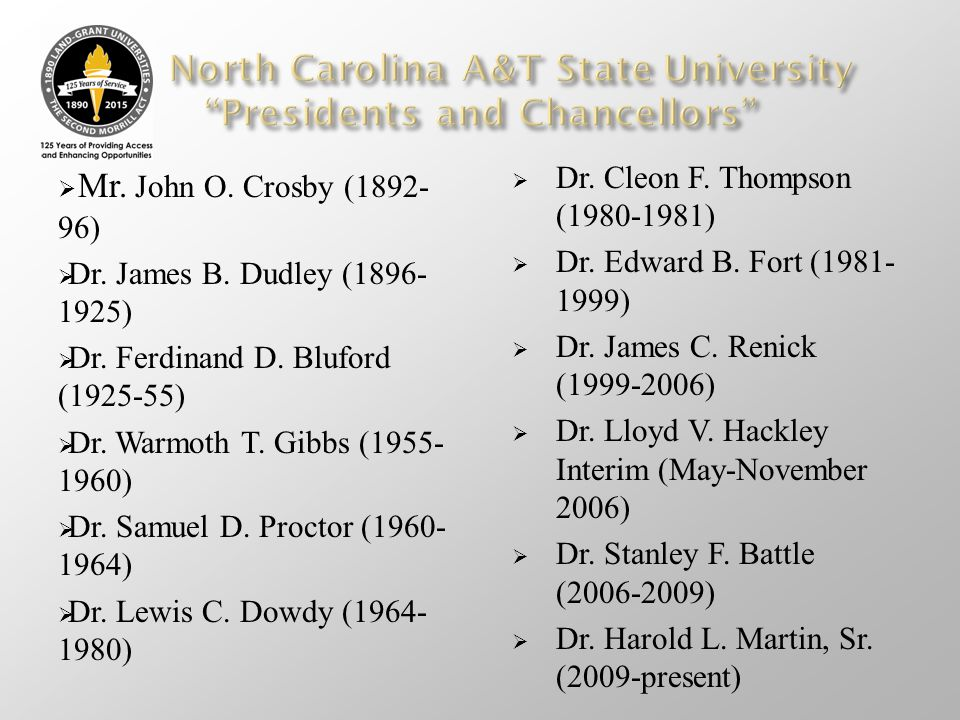 North Carolina A&T State University Presidents and Chancellors