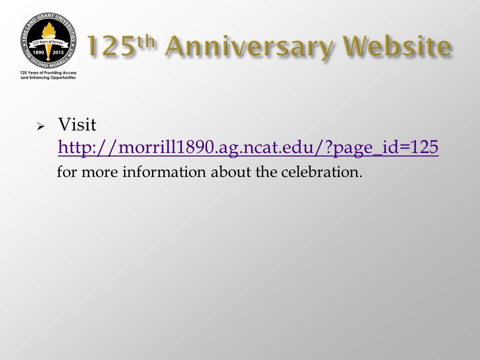 125th Anniversary Website