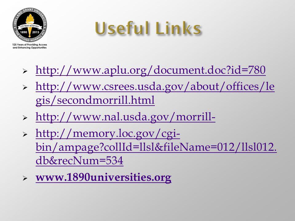 Useful Links http://www.aplu.org/document.doc id=780