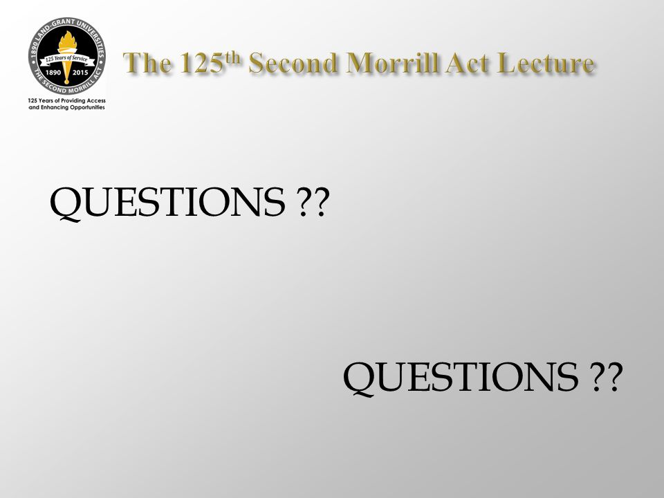 The 125th Second Morrill Act Lecture