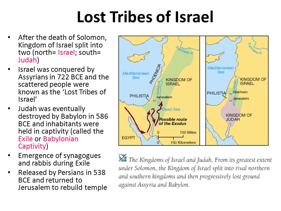 Lost Tribes of Israel After the death of Solomon, Kingdom of Israel split into two (north= Israel; south= Judah)