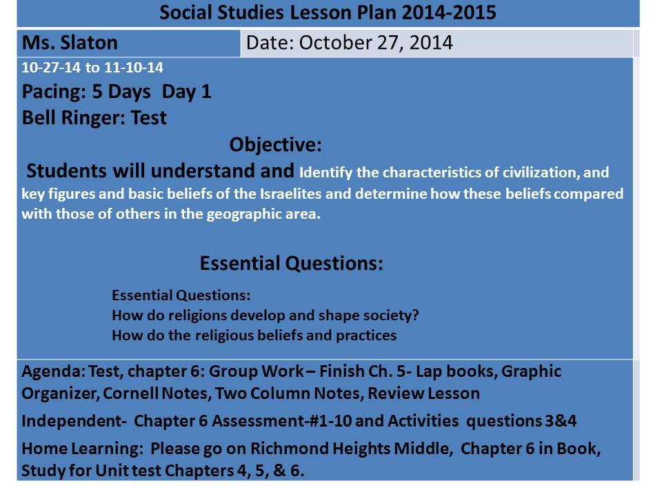 Social Studies Lesson Plan 2014-2015
