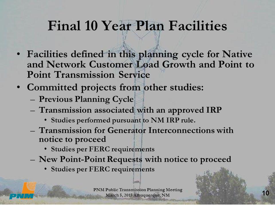 Final 10 Year Plan Facilities