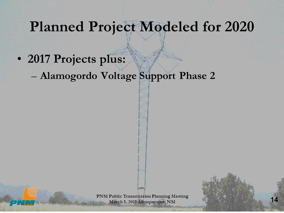 Planned Project Modeled for 2020