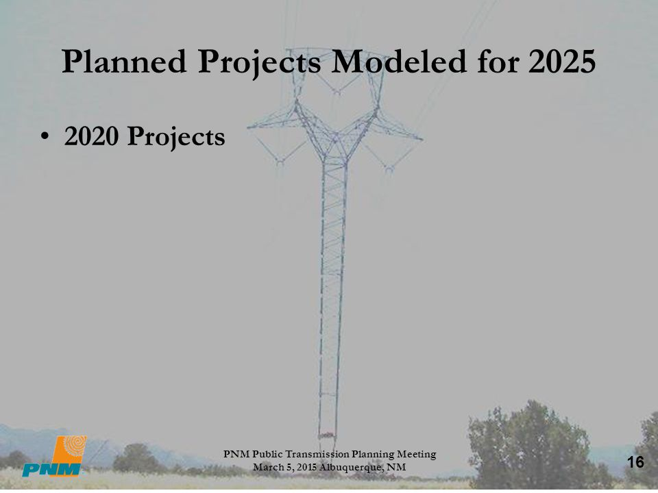 Planned Projects Modeled for 2025