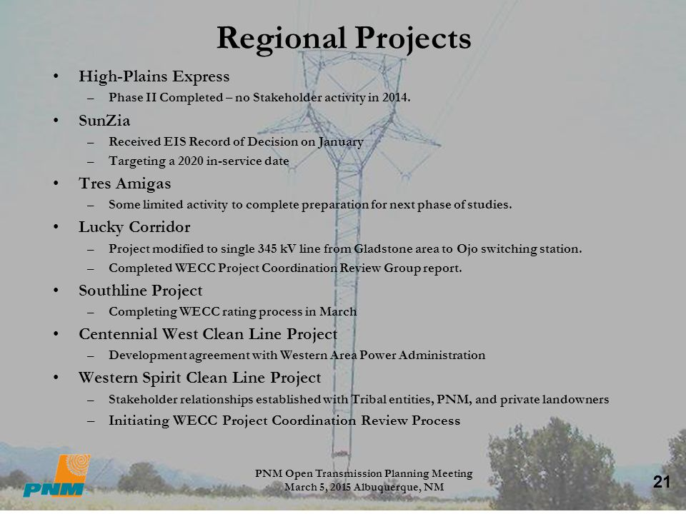 PNM Open Transmission Planning Meeting March 5, 2015 Albuquerque, NM