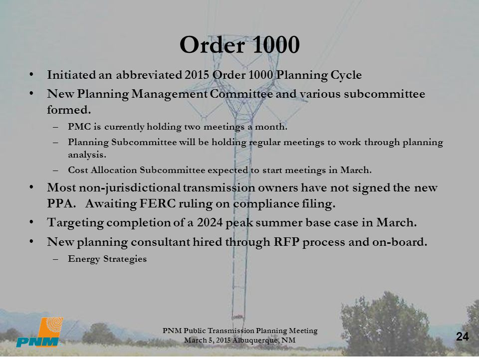 PNM Public Transmission Planning Meeting March 5, 2015 Albuquerque, NM