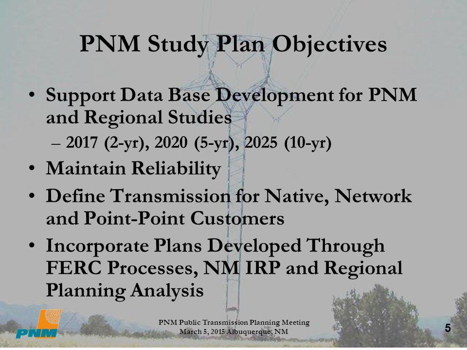 PNM Study Plan Objectives