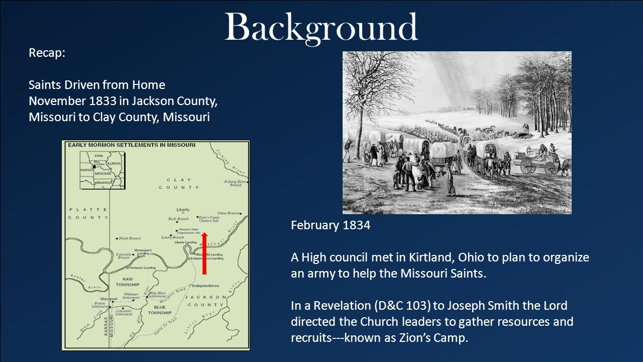 Background Recap: Saints Driven from Home November 1833 in Jackson County, Missouri to Clay County, Missouri.