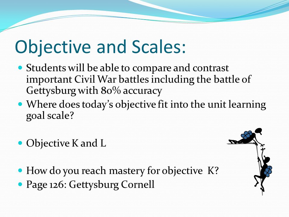 Objective and Scales: Students will be able to compare and contrast important Civil War battles including the battle of Gettysburg with 80% accuracy.